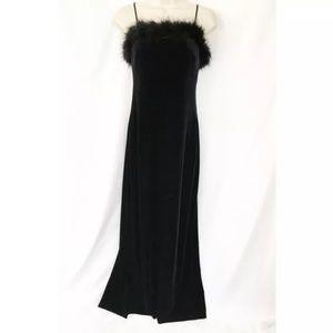 Vtg 90s Feather Top Stretch Velvet Maxi Dress M